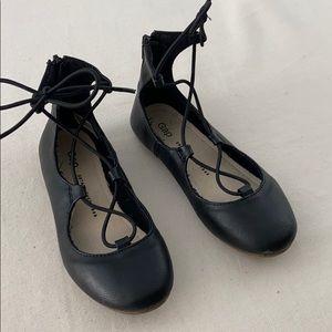Gap black lace up ballet flats